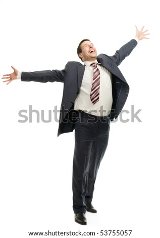 Very happy businessman isolated on white background - stock photo