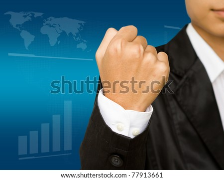 very happy energetic business man with his arms raised. - stock photo