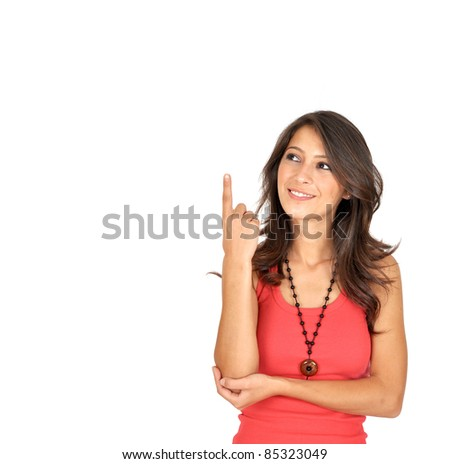 Very happy excited beautiful woman looking at your product with great joy. Isolated on white background.