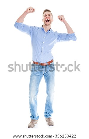 Very happy man isolated full body - stock photo