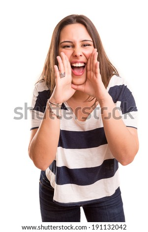 Very happy woman screaming of joy, isolated over a white background