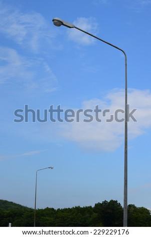 very high lamp side street - stock photo