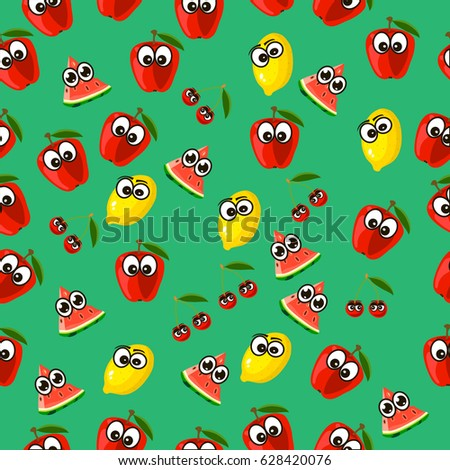 Very high quality original trendy  seamless pattern with a watermelon character, personage or face