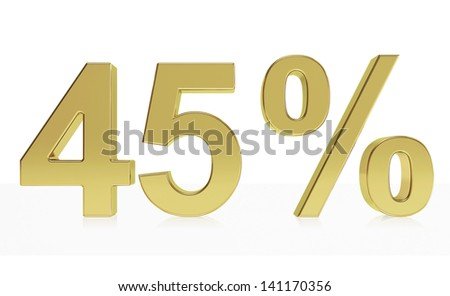 Very high quality rendering of a symbol for 45 % discount or gain with a subtle reflection.(series)