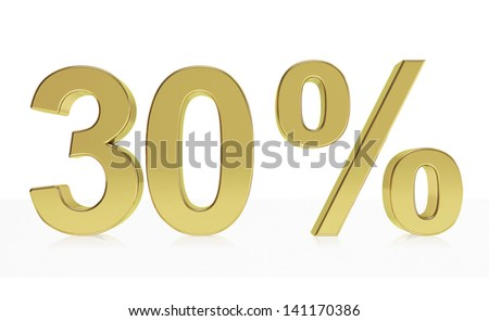 Very high quality rendering of a symbol for 25 % discount or gain with a subtle reflection.(series) - stock photo