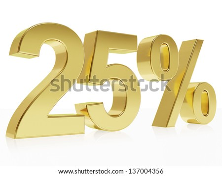 Very high quality rendering of a symbol for 25 % discount with a subtle reflection - stock photo