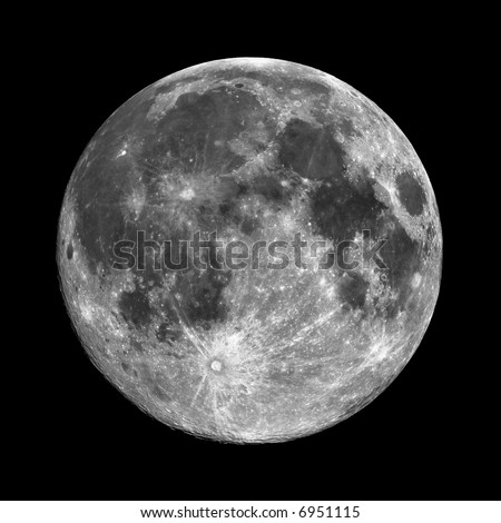 Very high resolution Full Moon. Pitch black sky, and plenty of room for contrast, brightness and color adjustment. - stock photo