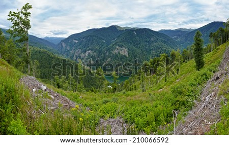 Very high resolution panorama with Capatanii mountains above lake Petrimanu in Romania - stock photo