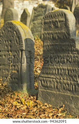 Very important Jewish cemetery in Libochovice (Czech Republic), founded in 1583 with many tombstones of Renaissance and Baroque type. (Vertically) - stock photo