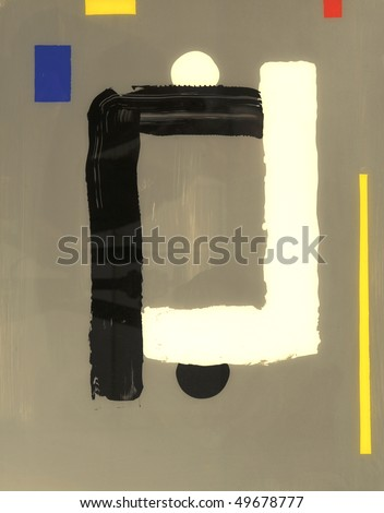 Very interesting abstract painting On Glass in verso - stock photo