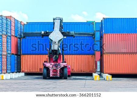 very large container in the port during cargo operation - stock photo