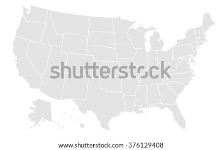 Very Light Grey Map Of The United States Of America With No Outline On White Background