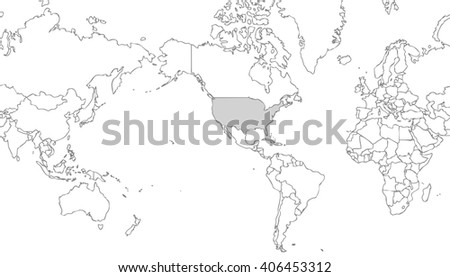 very light grey world map centered on united states of america with grey outline on white background with grey internal borders - planet geographic map - global earth cartographic picture in wide view - stock photo
