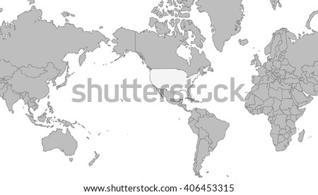 Very light grey world map centered stock illustration 406453315 very light grey world map centered on united states of america with grey outline on white gumiabroncs Images
