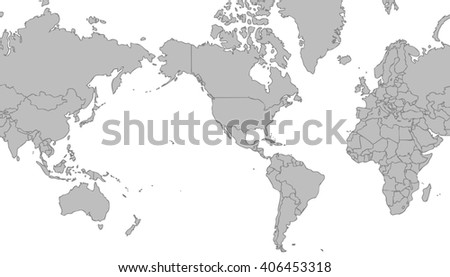 Very Light Grey World Map Centered Stock Illustration - World map of the united states