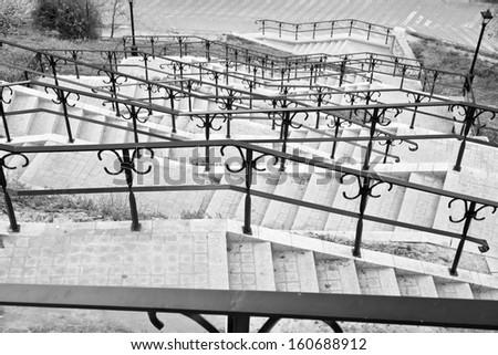 Very long stairs. Sandomierz, Poland - stock photo