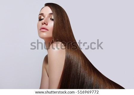 Very Long, Straight Silky Hair. The Girl With Long Ringlets. Keratin  Straightening.