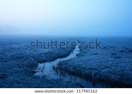 very misty landscape early in the morning..... - stock photo