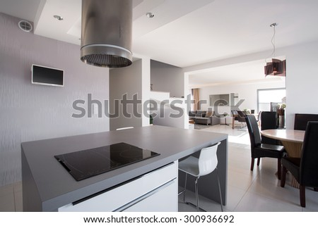Very modern and stylish hood in the kitchen