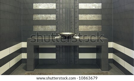 Very modern symmetry bathroom with sink - stock photo