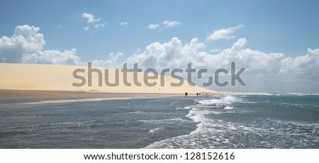 Very nice beach at low tide at Jericoacoara in Brazil - stock photo