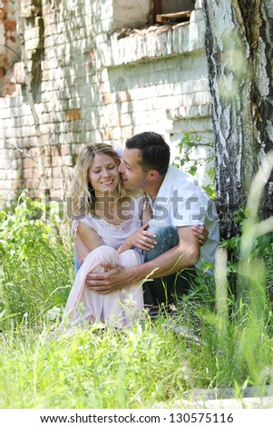 very nice couple in love outdoors