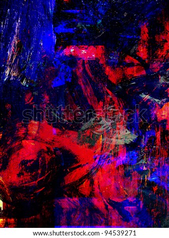 Very Nice Image of a large scale abstract Original painting - stock photo