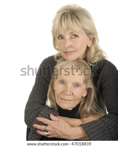 Very Nice Image Of a Mother and Daughter portrait Vertical - stock photo