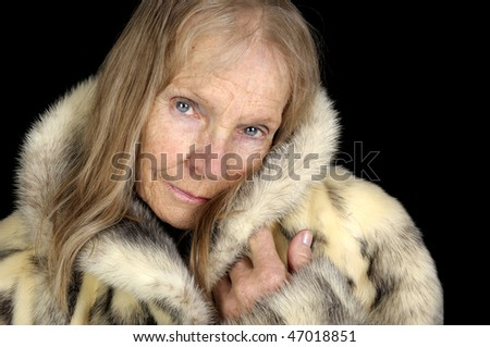 Very Nice Image Of a Senior Woman In Fur - stock photo