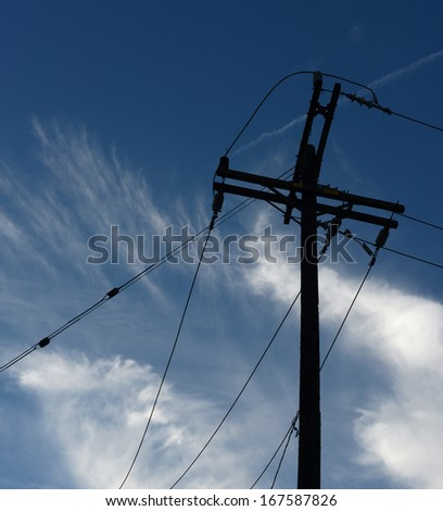 very Nice Image of Powerlines In the City - stock photo