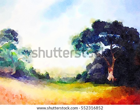 very nice Original watercolor Landscape painting