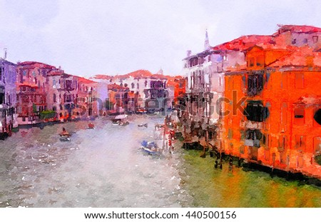 Very Nice painting of the boats along the Grand Canal in Venice