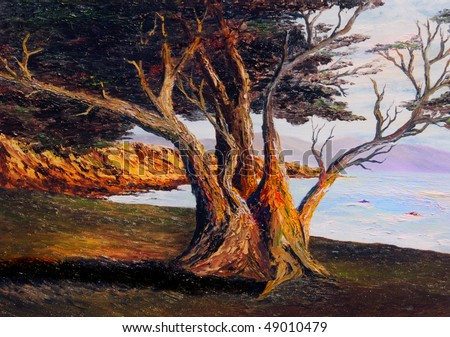 very Nice small scale Oil painting on Canvas - stock photo