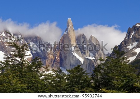 very nice view to the top of Fitz Roy, Argentina - stock photo
