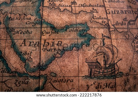 Very Old Ancient Map Pattern - stock photo