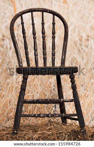 Very old and  peeling paint chair in a field of long grass.