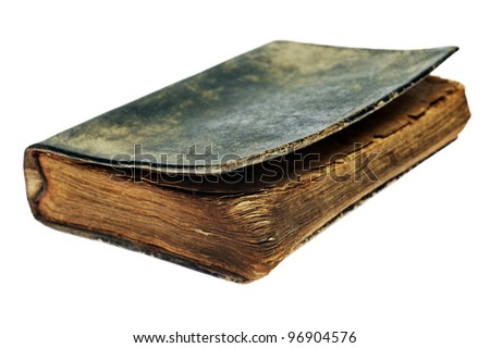 Very old bible book isolated on white