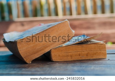 Very Old Book closeup - stock photo