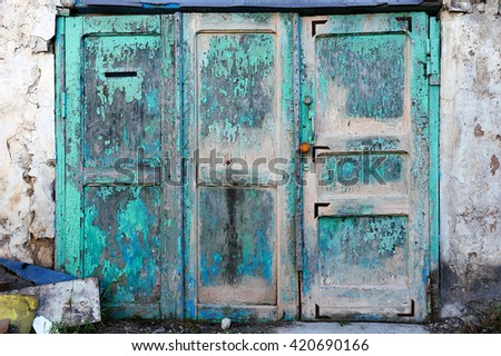 very old entry gate - stock photo