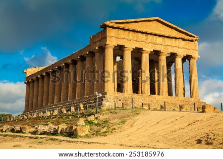 very old Greek ruins of Concordia Temple in the Valley of Temples near Agrigento, Sicily - stock photo