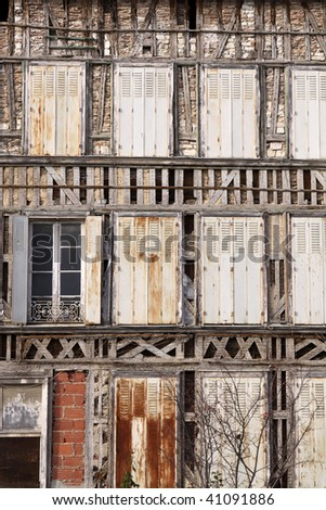 Very old House in Troyes. France - stock photo
