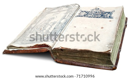 Very old manuscript with clear space on page. Clipping path included. - stock photo