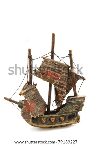 very old model of ship - stock photo