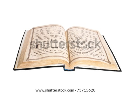 very old open bible isolated on white background - stock photo