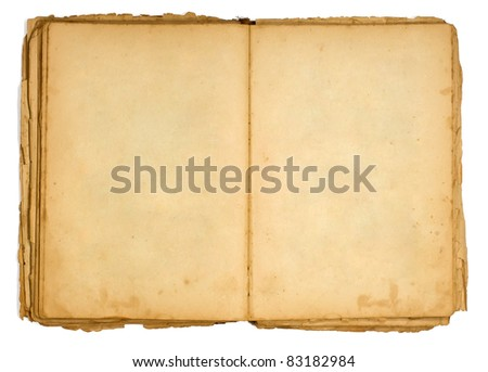 Very old open book and empty pages - stock photo