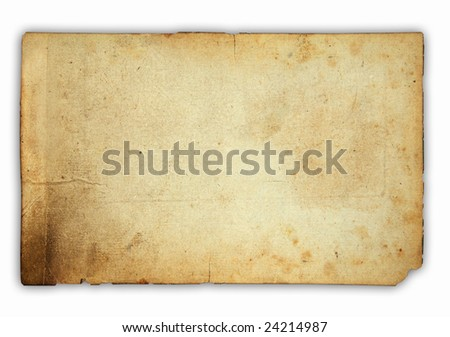 very old paper isolated on white background with soft shadow
