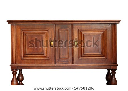 very old rare wooden furniture isolated over white background - stock photo