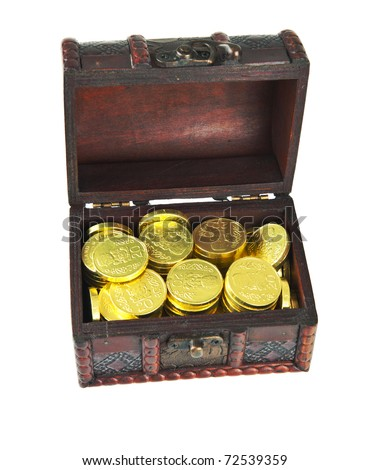 Very old treasure chest full of golden coins on a white background