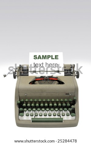 Very old typewriter isolated - stock photo