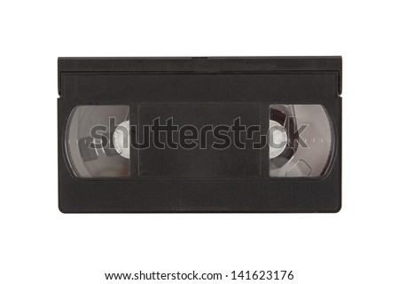 Very old videotape (video cassette) isolated on the white background - stock photo